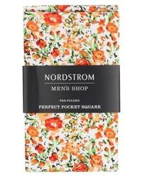 Orange Floral Pocket Square