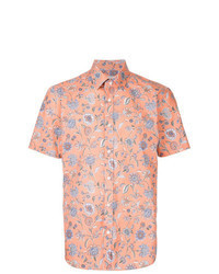 Orange Floral Short Sleeve Shirt