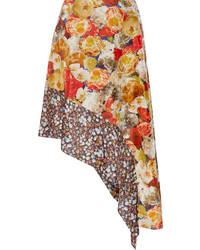 Acne Studios Pamsan Asymmetric Floral Print Silk Satin Skirt Orange