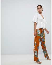 Missguided Floral Wide Leg Trousers