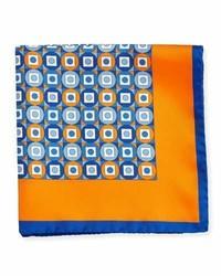 Kiton Geometric Printed Silk Pocket Square Orange