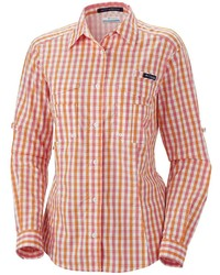 Women 39 S Orange Gingham Dress Shirt Navy Women 39 S Fashion