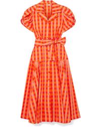 LHD Chteau Gingham Stretch Cotton Broadcloth Midi Dress