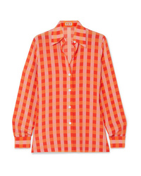 LHD Star Island Gingham Silk De Chine Shirt