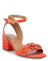 Michael Kors Michl Kors Collection Sam Jeweled Jacquard Block Heel Sandals