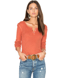 Monrow Long Sleeve Henley Tee In Orange