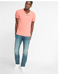 Express Wide Placket Gart Dyed Short Sleeve Henley