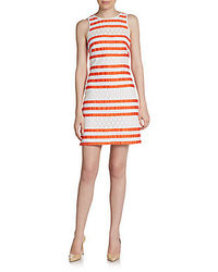 Phoebe couture by kay unger lace striped sleeveless dress medium 37721