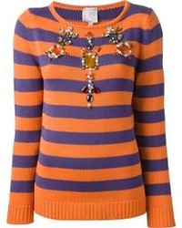 Stella jean jewel embellished striped sweater medium 103578