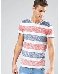 Orange Horizontal Striped Crew-neck T-shirt