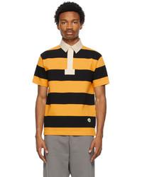 Gucci Yellow Black Cotton Striped Patch Polo