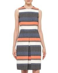 Akris Punto Striped Sleeveless Shift Dress Orange Pattern