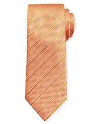 Canali Textured Stripe Silk Tie Orange