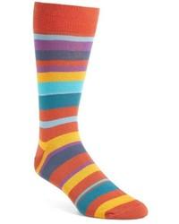 Orange Horizontal Striped Socks