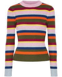 House of Holland Striped Metallic Merino Wool Blend Sweater Orange