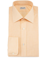 Charvet Micro Houndstooth Barrel Cuff Dress Shirt Orange