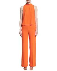 Marisa sleeveless crepe illusion jumpsuit hot mambo medium 4123459