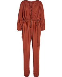 Lanvin Tasseled Washed Satin Jumpsuit Orange