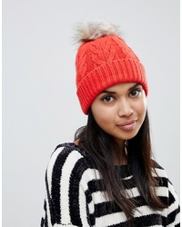 Oasis Cable Knit Beanie With P Om In Orange