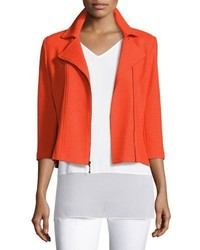 St. John Collection Trellis Knit 34 Sleeve Moto Jacket Tangerine