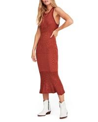 Orange Knit Bodycon Dress
