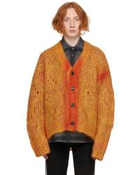 Marni Orange Mohair Sprayed Lines Cardigan