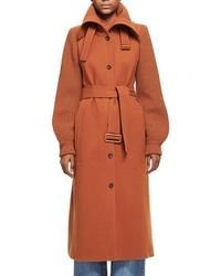 Chloé Chloe Brushed Wool Knit Sleeve Long Coat With Belt Dark Orange