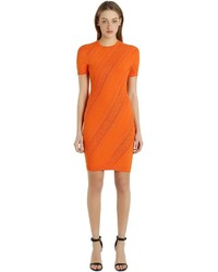 Versace Perforated Stretch Jacquard Knit Dress
