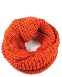 IDS 2 Circle Cable Knit Cowl Neck Long Scarf Shawl Orange