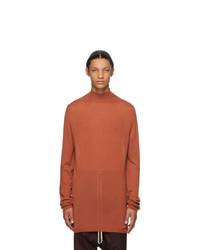 Rick Owens Orange Virgin Wool Oversize Turtleneck
