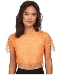 Orange Lace Cropped Top