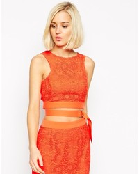 Lavish alice lace d ring crop top medium 305987