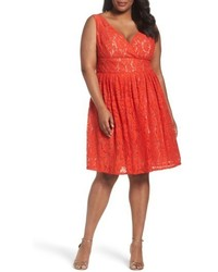 Orange Lace Fit and Flare Dress
