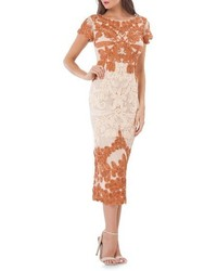 Orange Lace Midi Dress