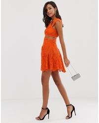 ASOS DESIGN Mini Dress With Trumpet Hem In Cutwork Lace