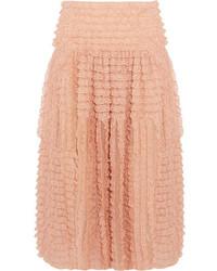 Chloé Ruffled Lace Trimmed Silk Organza Midi Skirt Peach