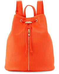 Neiman Marcus Perforated Drawstring Backpack Bag Orange