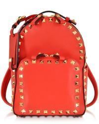 Valentino Rockstud Deep Orange Leather Backpack