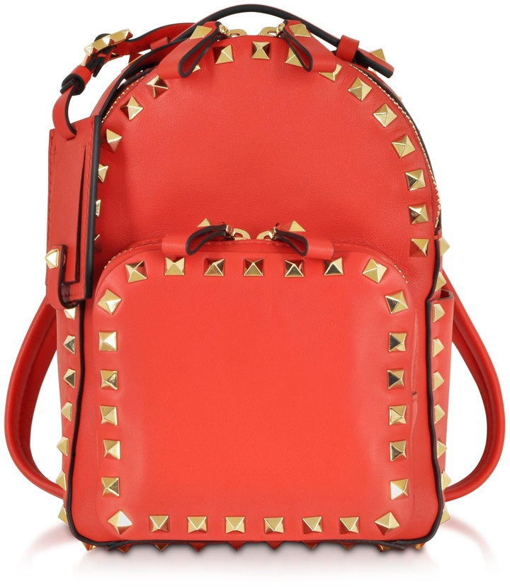 Valentino Rockstud Deep Orange Leather Backpack | Where to buy ...