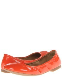 Orange Leather Ballerina Shoes