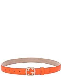 Gucci Orange Leather Pin Close Logo Buckle Skinny Belt