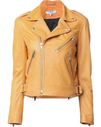 Orange Leather Biker Jacket