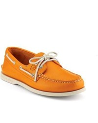 size 40 a4711 90b46 Sperry Topsider Shoes School Spirit Authentic Original 2 Eye Boat Shoe  Orange Leather
