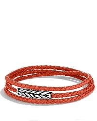 David Yurman Chevron Triple Wrap Bracelet In Orange