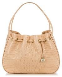 Amy embossed leather drawstring bucket bag brown medium 3684192