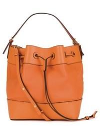 Midnight leather bucket bag orange medium 5254742