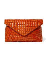 Dries Van Noten Croc Effect Patent Leather Clutch