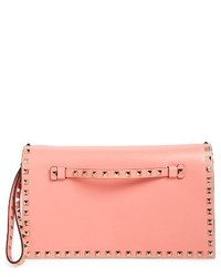 Valentino Garavani Rockstud Leather Flap Clutch Orange