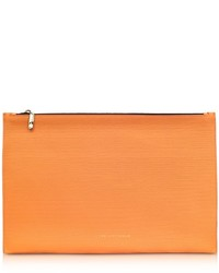 Pumpkin embossed grained leather large simple pouch medium 705612