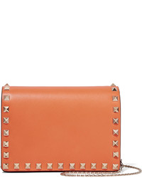 The rockstud leather shoulder bag orange medium 532307